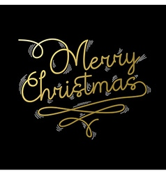 Merry christmas gold quote greeting card vector