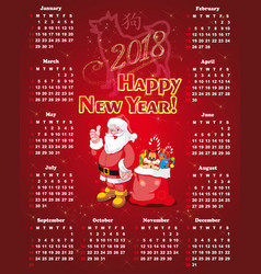 new year calendar for 2018 vector image