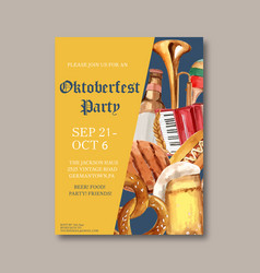 Oktoberfest poster with party musical friend vector