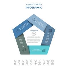 pentagon business infographics strategy design vector image