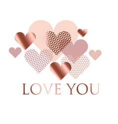 Pink and white geometry hearts valentines day vector