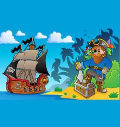 Pirate on coast theme 2 vector