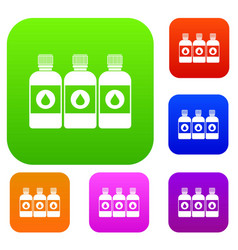Printer ink bottles set collection vector