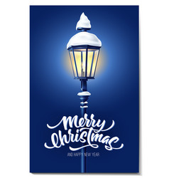 realistic streetlight with snowcap new year vector image