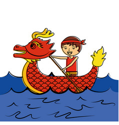 Red dragon man rowing festival chinese traditional vector
