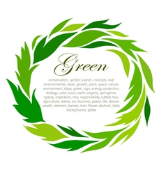 Round frame of stylized green leaf vector