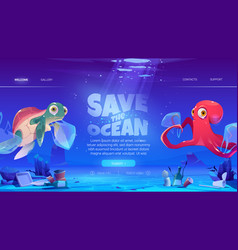 Save ocean website with sea animals and waste vector