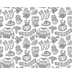 Seamless autumn background with comic pumpkin owl vector