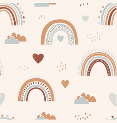 seamless childish pattern with hand drawn rainbows vector image