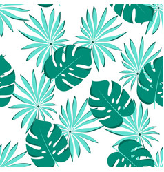 seamless palm leaves pattern vector image