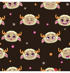 Seamless pattern with funny monster faces vector image