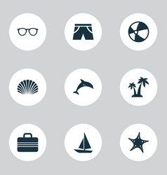 Season icons set collection of star goggles vector