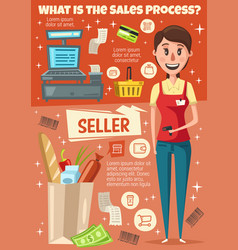 Seller profession poster of vendor with scanner vector