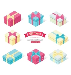 set 3d isometric colorful gift boxes with bows vector image