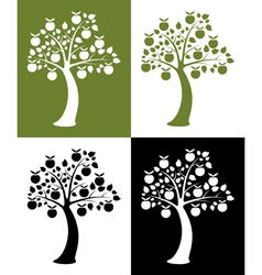 set apple trees vector image