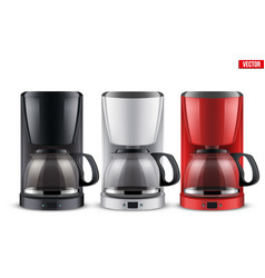 set of coffee maker with glass pot vector image