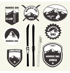set skiing design elements badges logo vector image