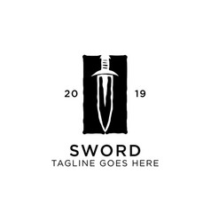 shield sword guardian logo template vector image