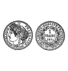 silver franc vintage engraving vector image
