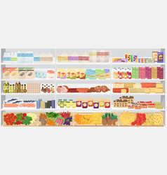 Store supermarket shelves shelfs with products vector