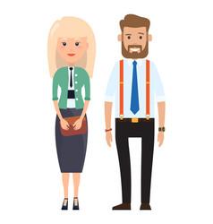 Stylish businessmen cartoon man and woman vector
