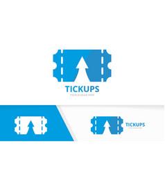 Ticket and arrow up logo combination vector
