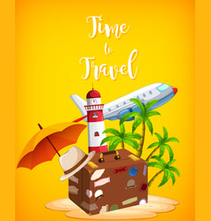 travel element on yellow background vector image