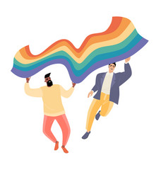 two attractive men with lgbt flag vector image