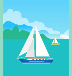 two pretty sailsboats color vector image