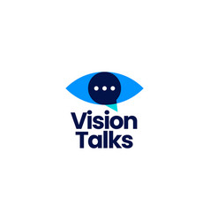 vision talk eye chat logo icon vector image