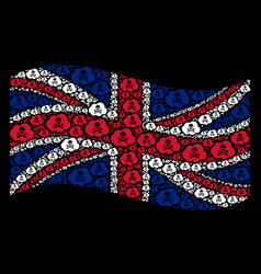 waving united kingdom flag collage of toxic smoke vector image
