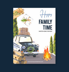 Winter home poster design with car tree firewood vector