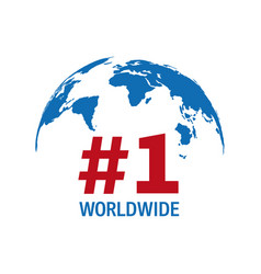 worldwide number one blue and red sign vector image
