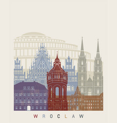 Wroclaw skyline poster vector