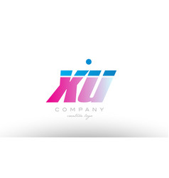xu x u alphabet letter combination pink blue bold vector image
