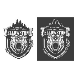 yellowstone national park vintage monochrome logo vector image