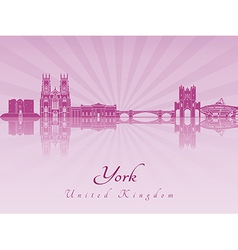 York skyline in purple radiant orchid vector image vector image