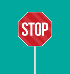 a stop sign on a pole in flat style vector image vector image