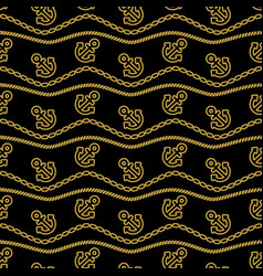 Seamless pattern with ropes anchors chain and vector