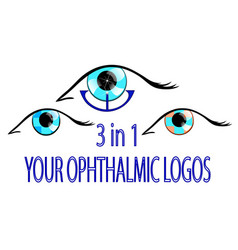 three ophthalmic logos vector image vector image