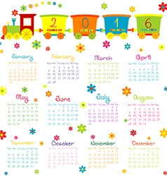 2016 Calendar with toy train and flowers vector image vector image