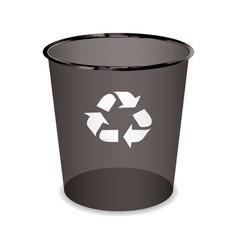 black transparent trash or waste recycle bin vector image vector image