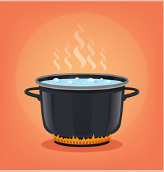 Boiling water black pan cooking concept vector