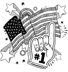 doodle americana foam hand bw vector image vector image
