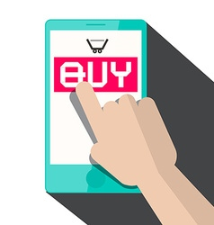 Flat Design Hand Touching Smart Phone with Buy vector image