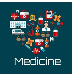 Healthy heart symbol with medical services icons vector image