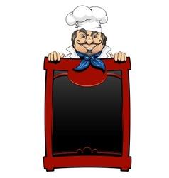 Italian chef with menu board vector image vector image