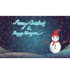 Merry christmas and happy newyear with snowman vector image vector image