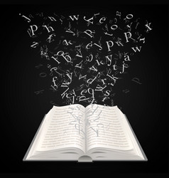 open book with flying letters on a black vector image vector image