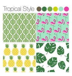 SET OF TROPICAL EXOTIC JUNGLE BACKGROUNDS PATTERNS vector image vector image